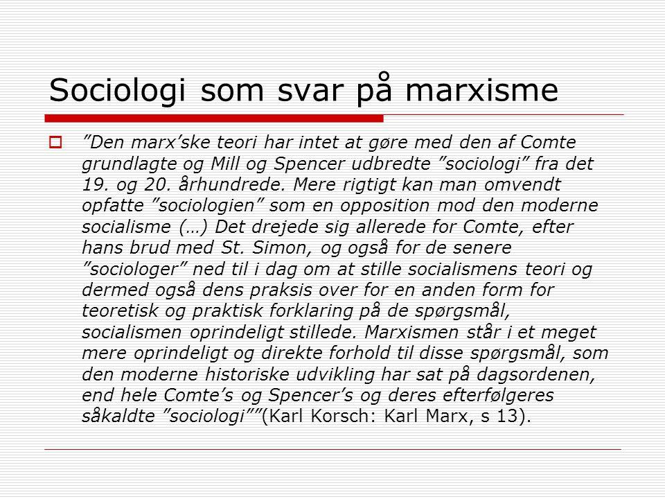 Sociologi som svar på marxisme