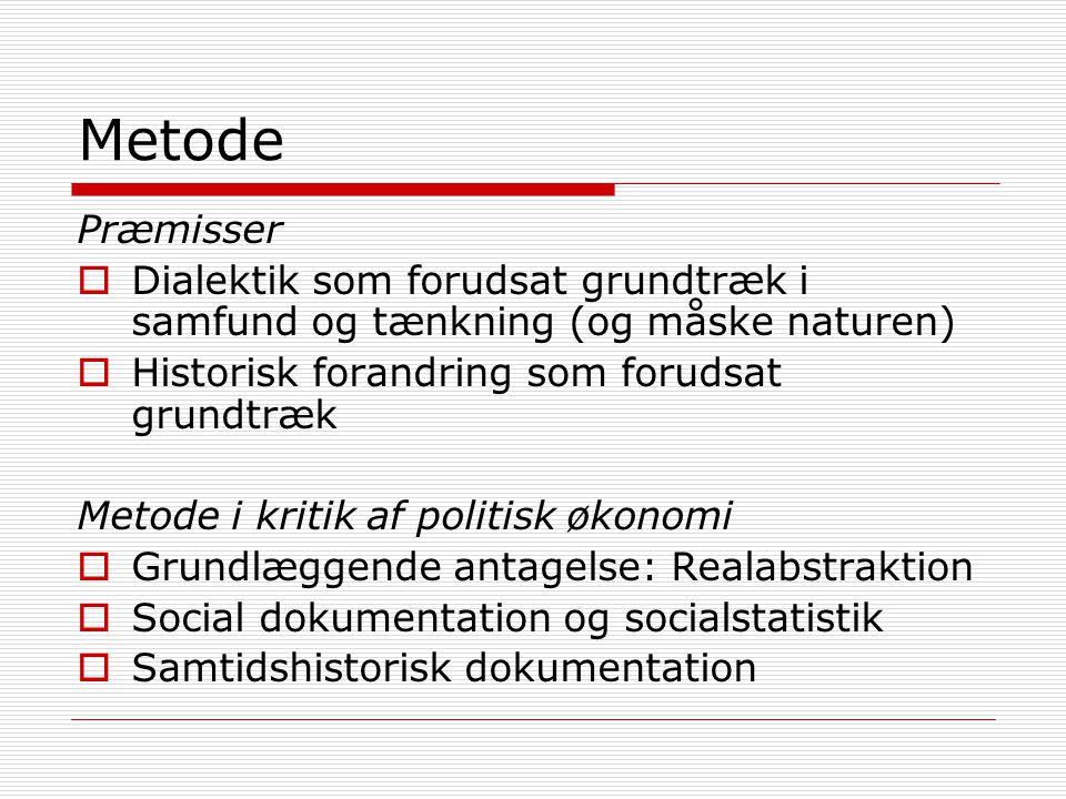 Metode Præmisser. Dialektik som forudsat grundtræk i samfund og tænkning (og måske naturen) Historisk forandring som forudsat grundtræk.