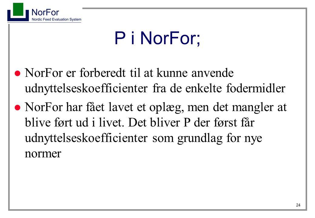 P i NorFor; NorFor er forberedt til at kunne anvende udnyttelseskoefficienter fra de enkelte fodermidler.