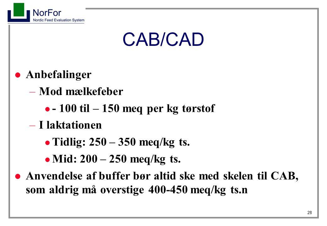 CAB/CAD Anbefalinger Mod mælkefeber - 100 til – 150 meq per kg tørstof
