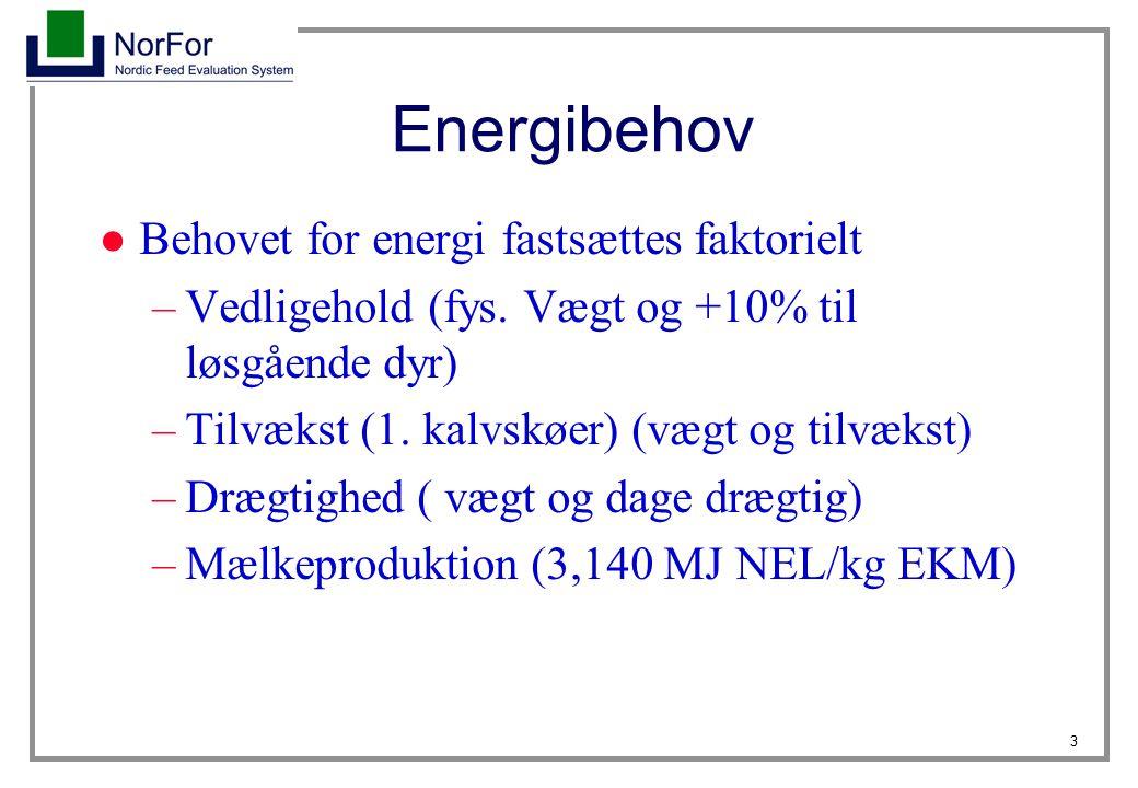 Energibehov Behovet for energi fastsættes faktorielt