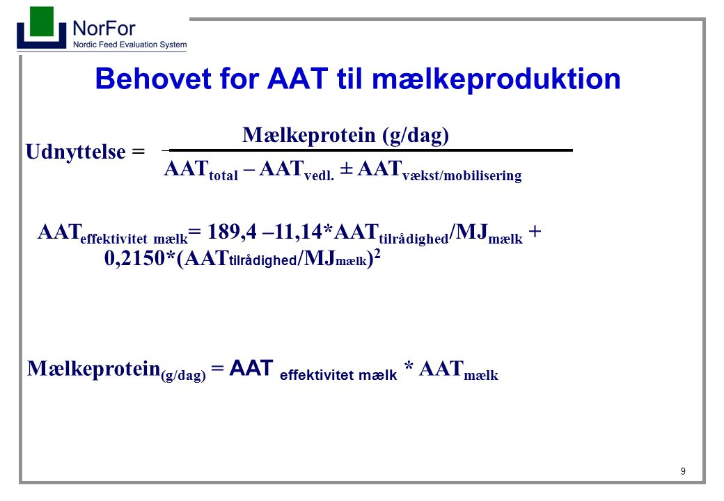 Behovet for AAT til mælkeproduktion