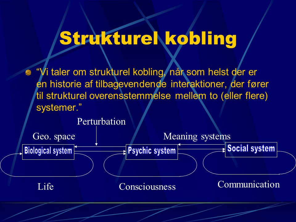 Strukturel kobling Biological system Psychic system Social system