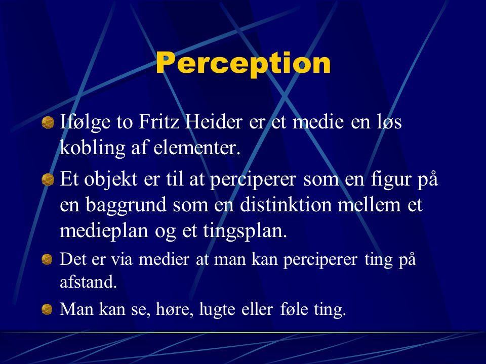 Perception Ifølge to Fritz Heider er et medie en løs kobling af elementer.