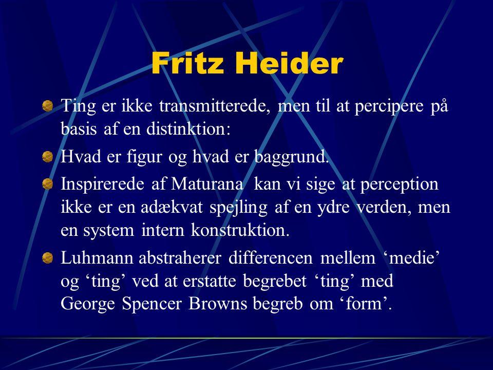 Fritz Heider Ting er ikke transmitterede, men til at percipere på basis af en distinktion: Hvad er figur og hvad er baggrund.