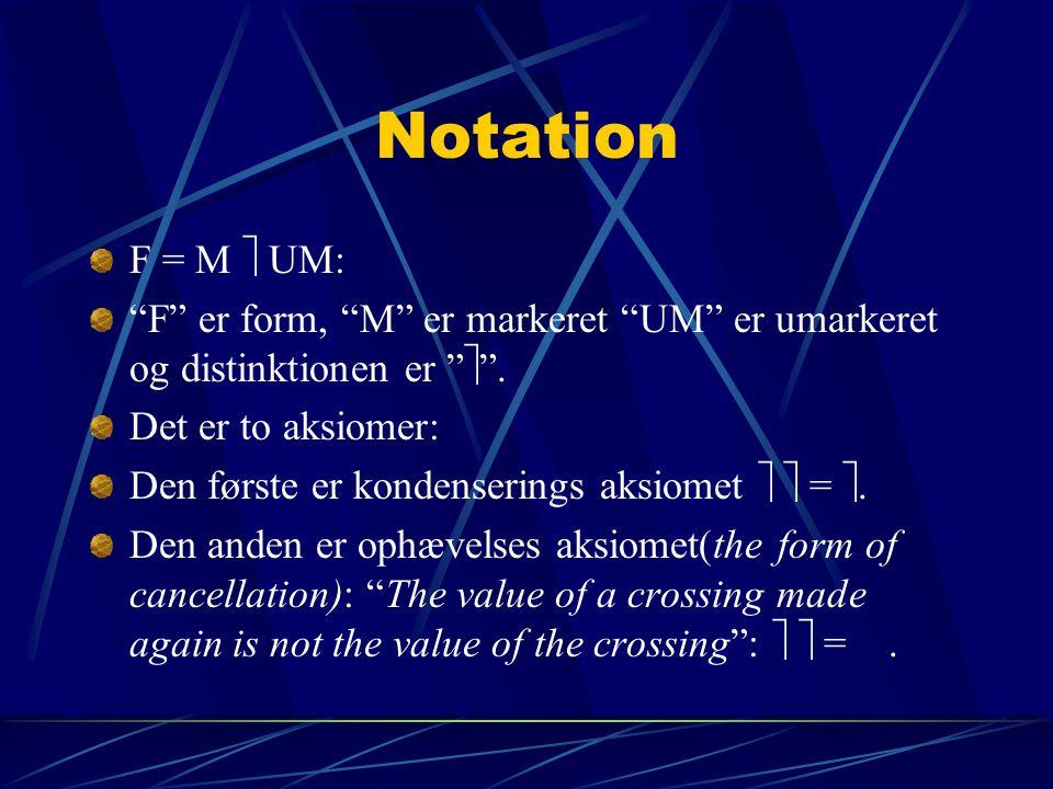 Notation F = M  UM: F er form, M er markeret UM er umarkeret og distinktionen er  . Det er to aksiomer: