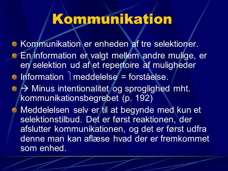 Kommunikation Kommunikation er enheden af tre selektioner.
