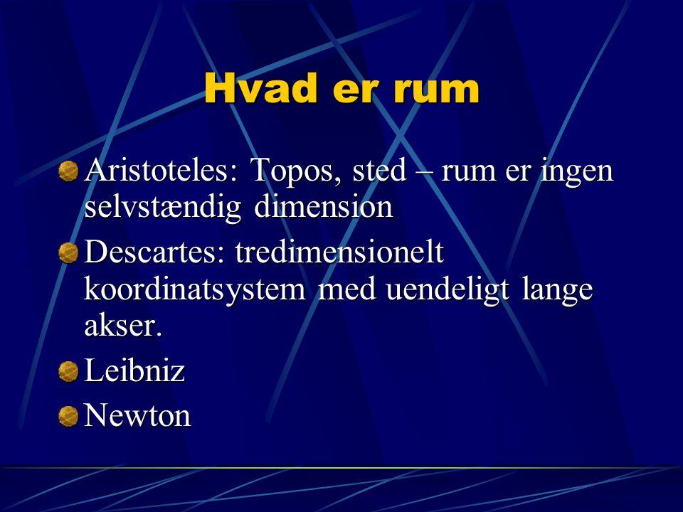 Hvad er rum Aristoteles: Topos, sted – rum er ingen selvstændig dimension. Descartes: tredimensionelt koordinatsystem med uendeligt lange akser.