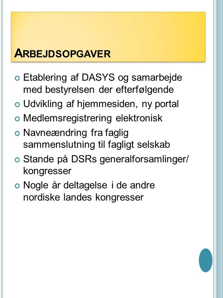 Arbejdsopgaver Etablering af DASYS og samarbejde med bestyrelsen der efterfølgende. Udvikling af hjemmesiden, ny portal.