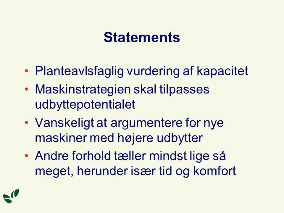 Statements Planteavlsfaglig vurdering af kapacitet
