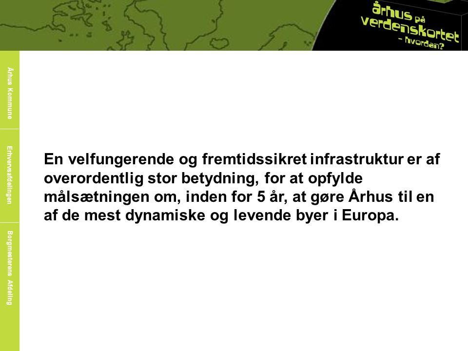 En velfungerende og fremtidssikret infrastruktur er af overordentlig stor betydning, for at opfylde målsætningen om, inden for 5 år, at gøre Århus til en af de mest dynamiske og levende byer i Europa.