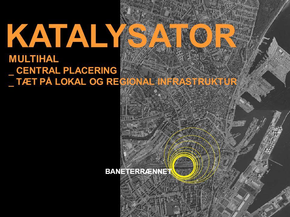 KATALYSATOR MULTIHAL _ CENTRAL PLACERING _ TÆT PÅ LOKAL OG REGIONAL INFRASTRUKTUR BANETERRÆNNET