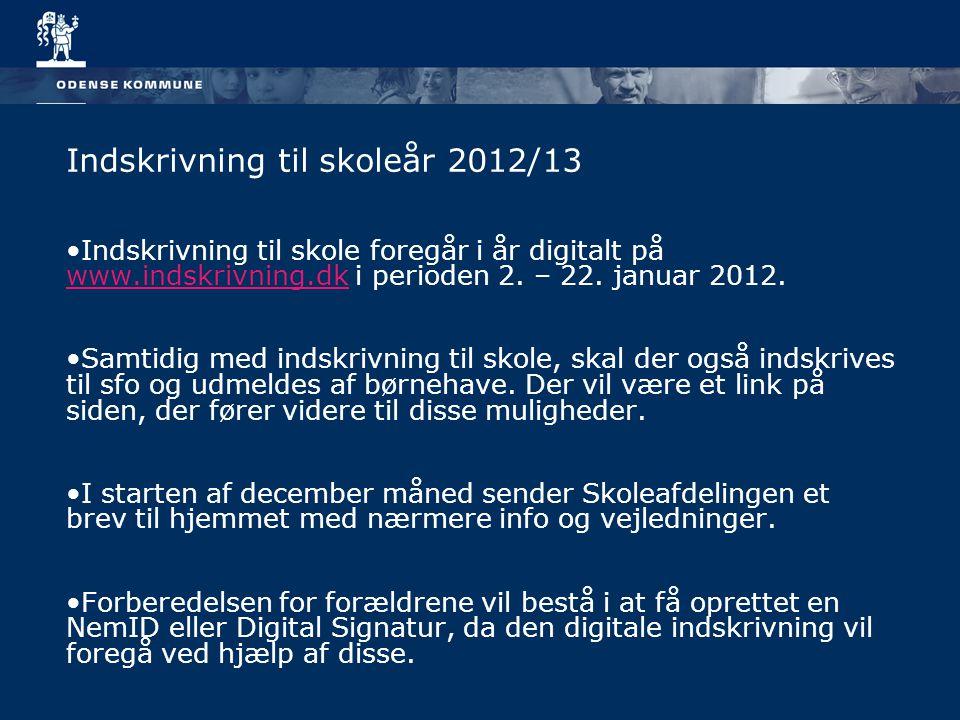 Indskrivning til skoleår 2012/13