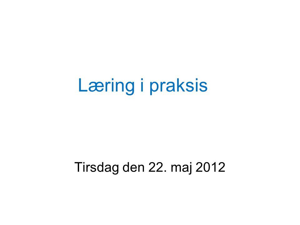 Læring i praksis Tirsdag den 22. maj 2012