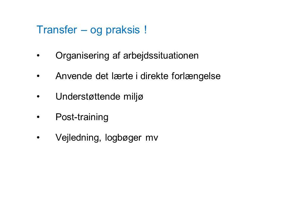 Transfer – og praksis ! Organisering af arbejdssituationen