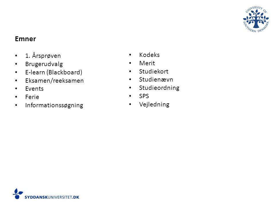 Emner 1. Årsprøven Kodeks Brugerudvalg Merit E-learn (Blackboard)
