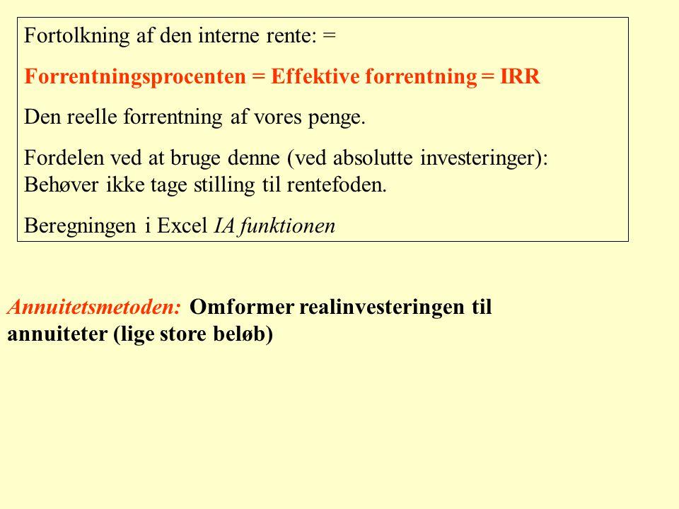 Fortolkning af den interne rente: =