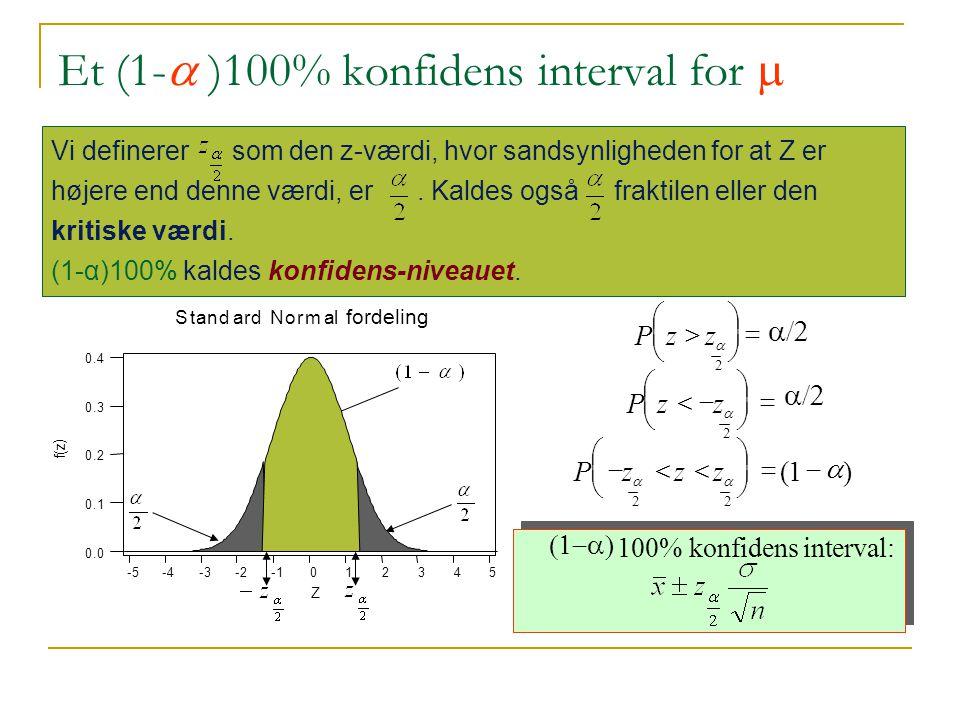 Et (1-a )100% konfidens interval for m
