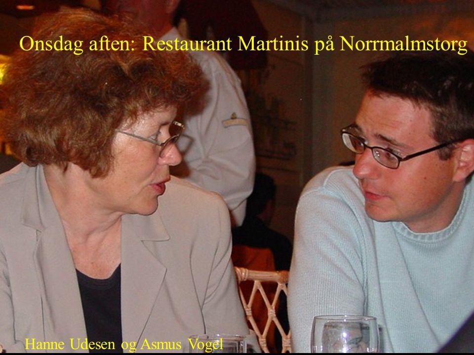 Onsdag aften: Restaurant Martinis på Norrmalmstorg