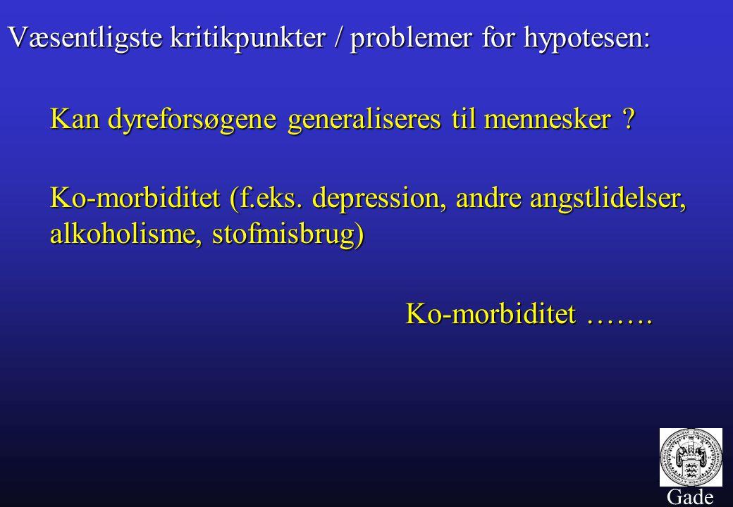 Væsentligste kritikpunkter / problemer for hypotesen: