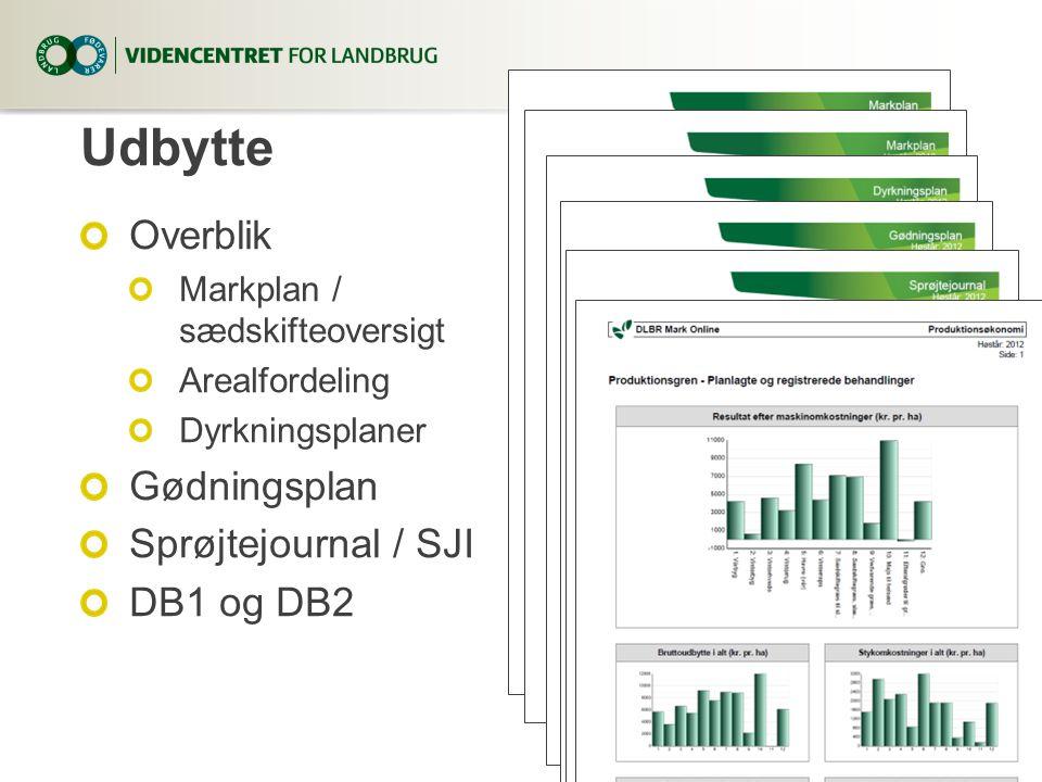Udbytte Overblik Gødningsplan Sprøjtejournal / SJI DB1 og DB2