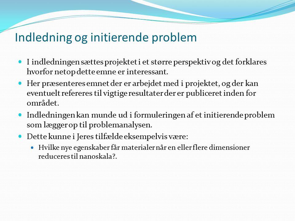 Indledning og initierende problem