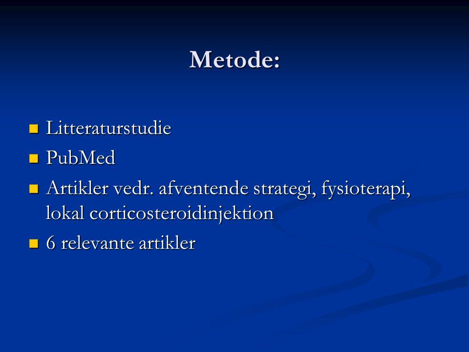 Metode: Litteraturstudie PubMed