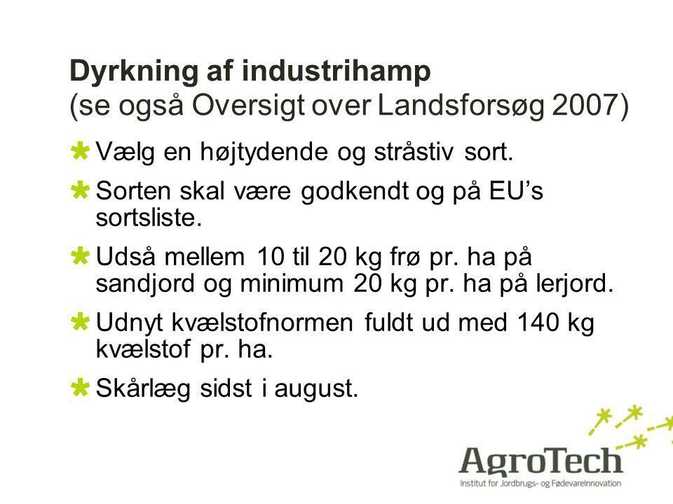 Dyrkning af industrihamp (se også Oversigt over Landsforsøg 2007)