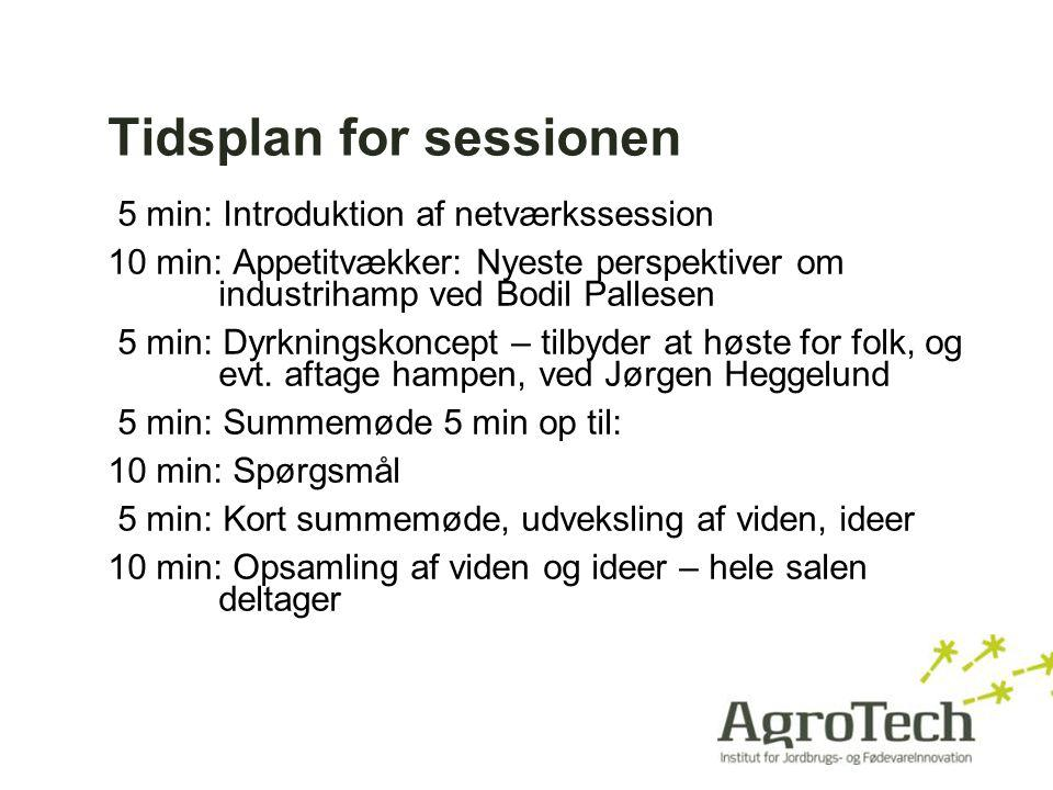 Tidsplan for sessionen