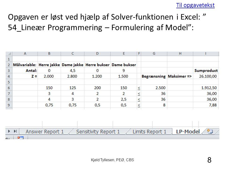 Til opgavetekst Opgaven er løst ved hjælp af Solver-funktionen i Excel: 54_Lineær Programmering – Formulering af Model :