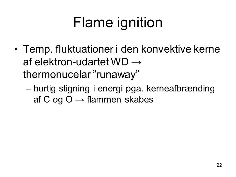 Flame ignition Temp. fluktuationer i den konvektive kerne af elektron-udartet WD → thermonucelar runaway