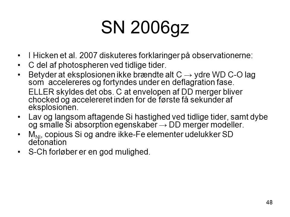 SN 2006gz I Hicken et al. 2007 diskuteres forklaringer på observationerne: C del af photospheren ved tidlige tider.