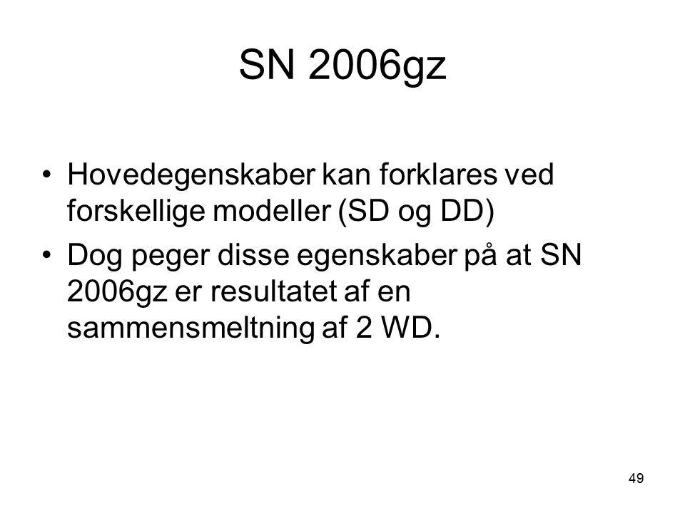 SN 2006gz Hovedegenskaber kan forklares ved forskellige modeller (SD og DD)