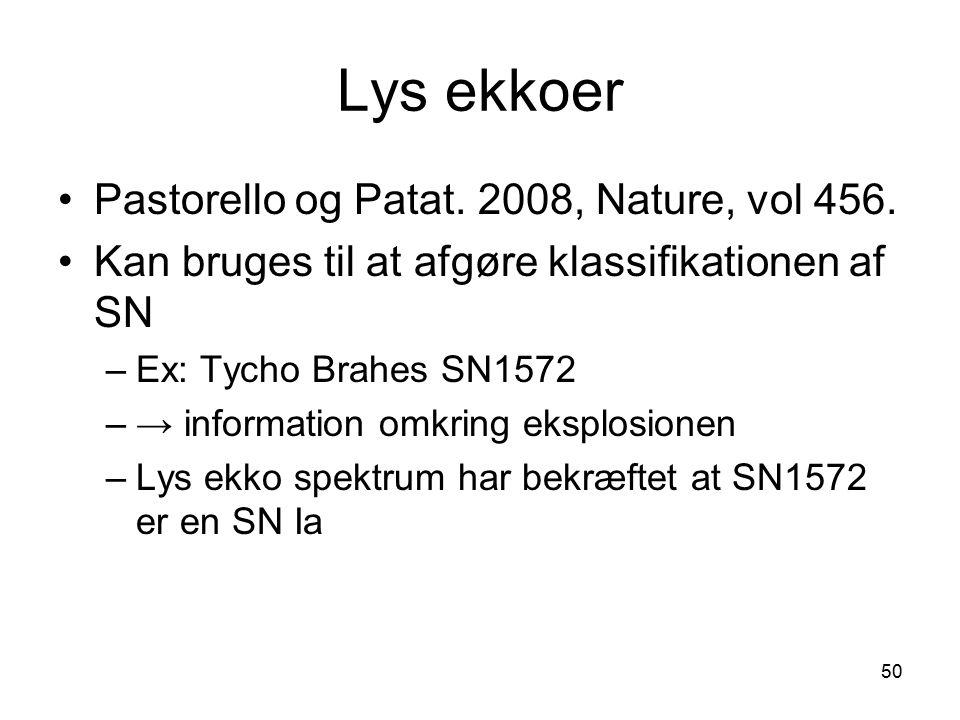Lys ekkoer Pastorello og Patat. 2008, Nature, vol 456.