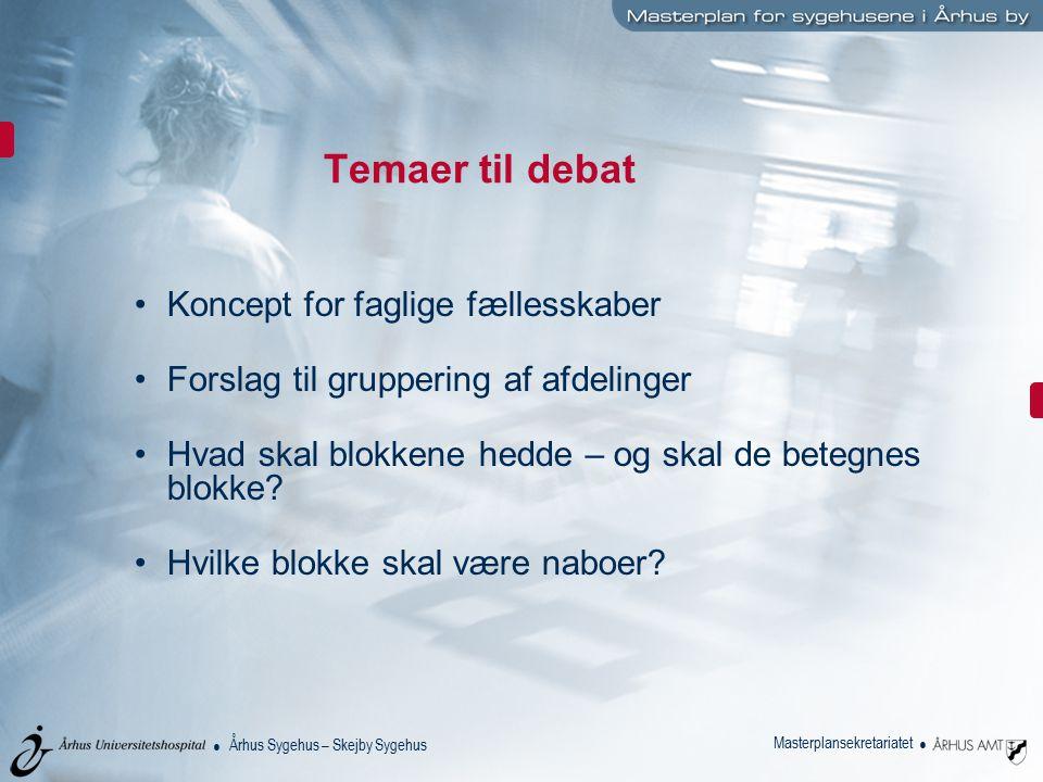 Temaer til debat Koncept for faglige fællesskaber