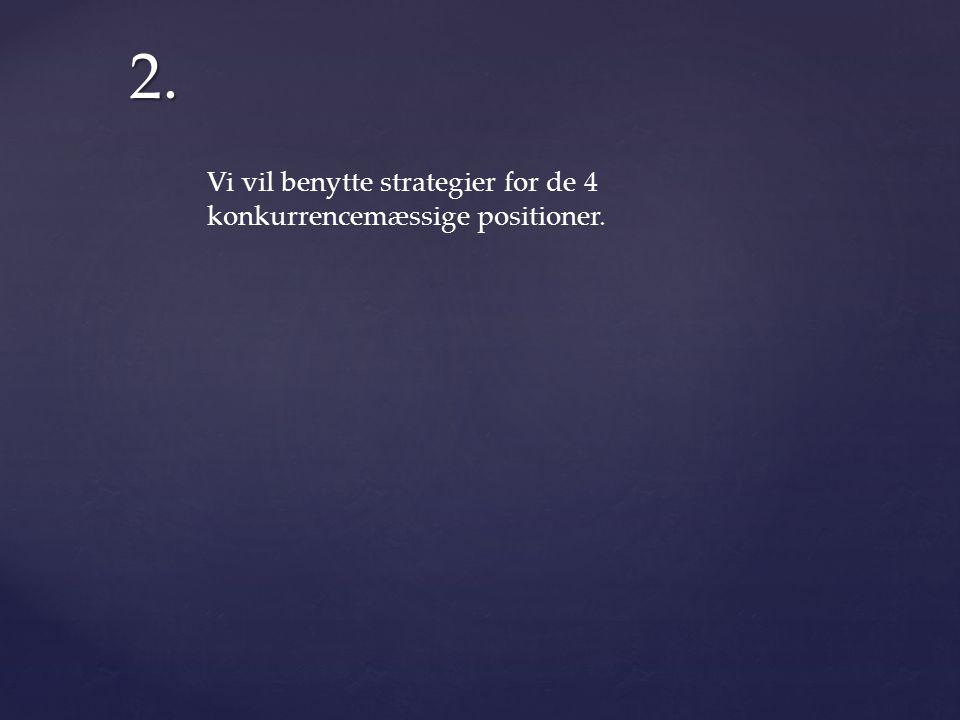 2. Vi vil benytte strategier for de 4 konkurrencemæssige positioner.