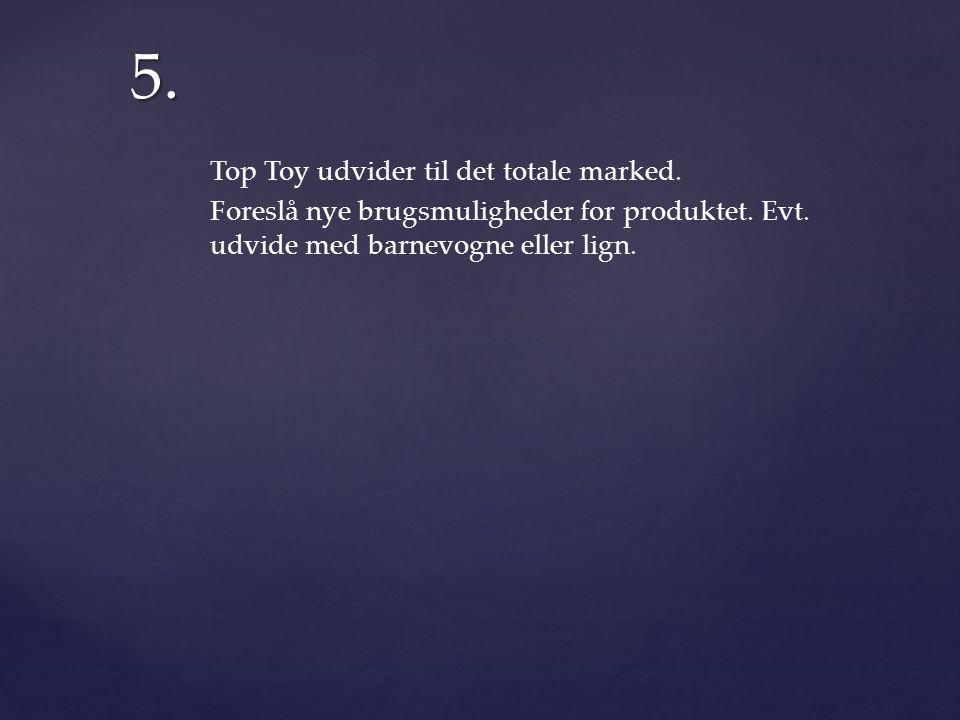 5. Top Toy udvider til det totale marked. Foreslå nye brugsmuligheder for produktet.