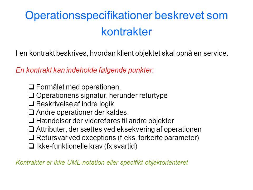 Operationsspecifikationer beskrevet som kontrakter