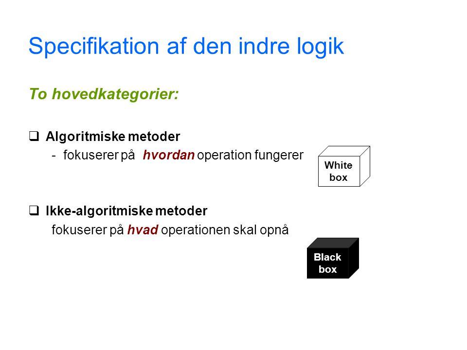 Specifikation af den indre logik