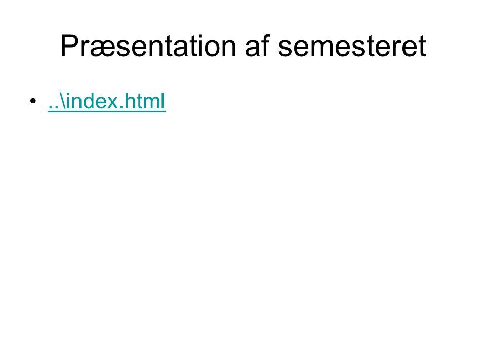 Præsentation af semesteret