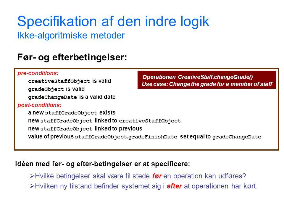Specifikation af den indre logik Ikke-algoritmiske metoder