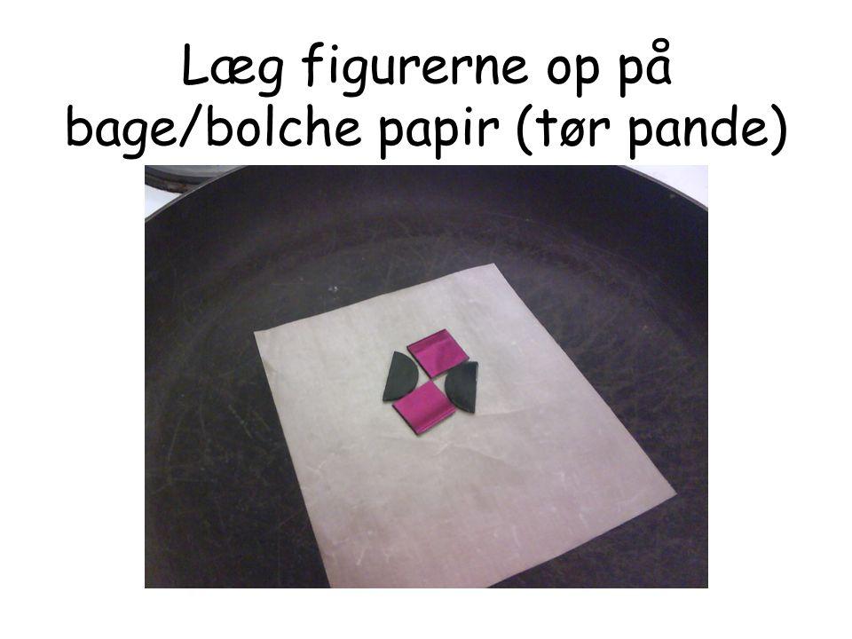 Læg figurerne op på bage/bolche papir (tør pande)