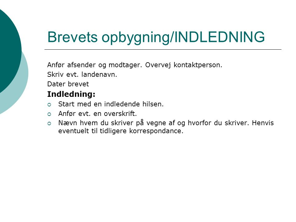 Brevets opbygning/INDLEDNING