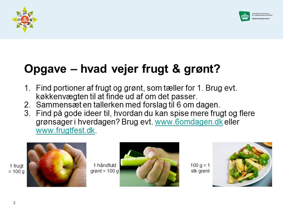 Opgave – hvad vejer frugt & grønt