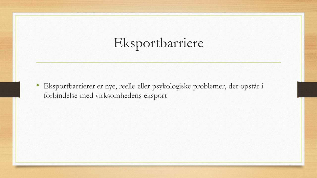 Eksportbarriere Eksportbarrierer er nye, reelle eller psykologiske problemer, der opstår i forbindelse med virksomhedens eksport.