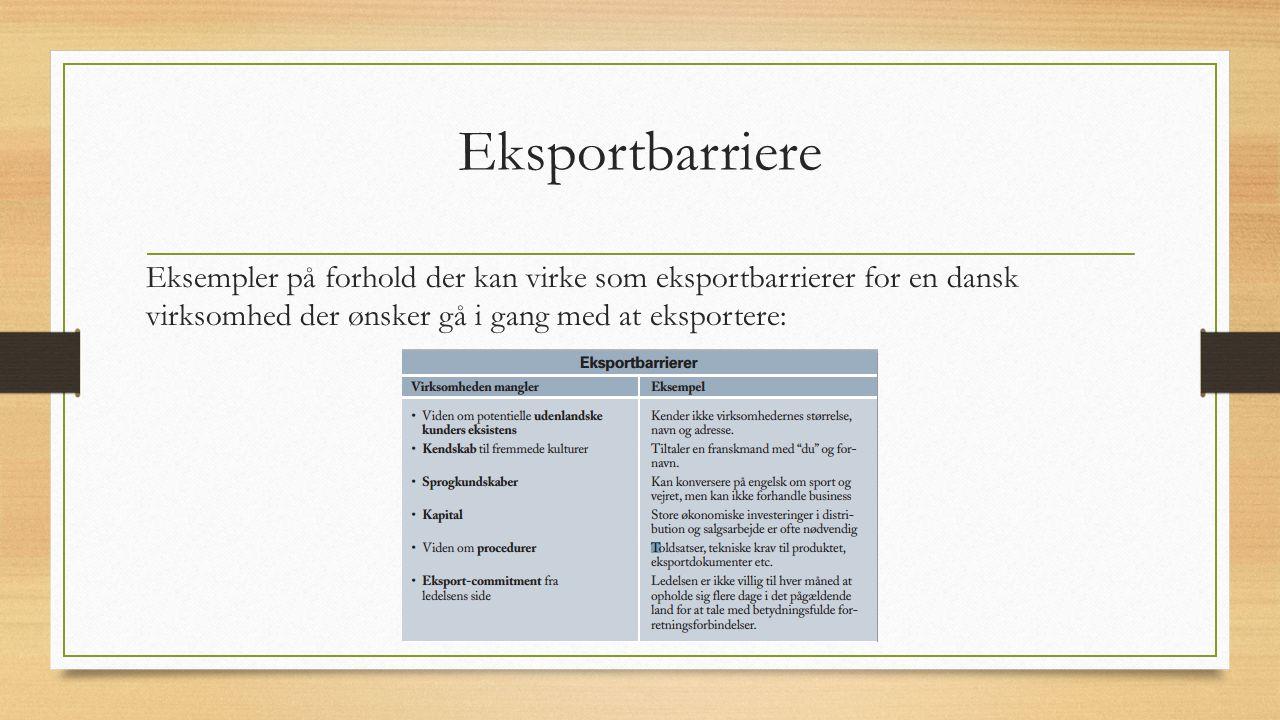 Eksportbarriere Eksempler på forhold der kan virke som eksportbarrierer for en dansk virksomhed der ønsker gå i gang med at eksportere: