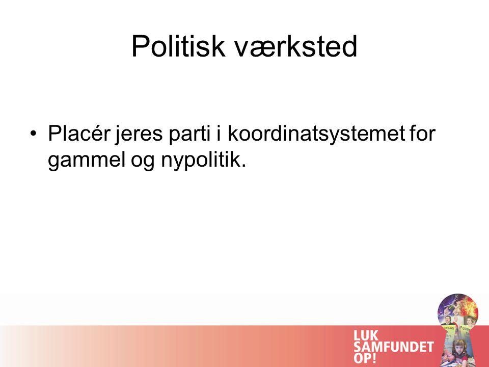Politisk værksted Placér jeres parti i koordinatsystemet for gammel og nypolitik.