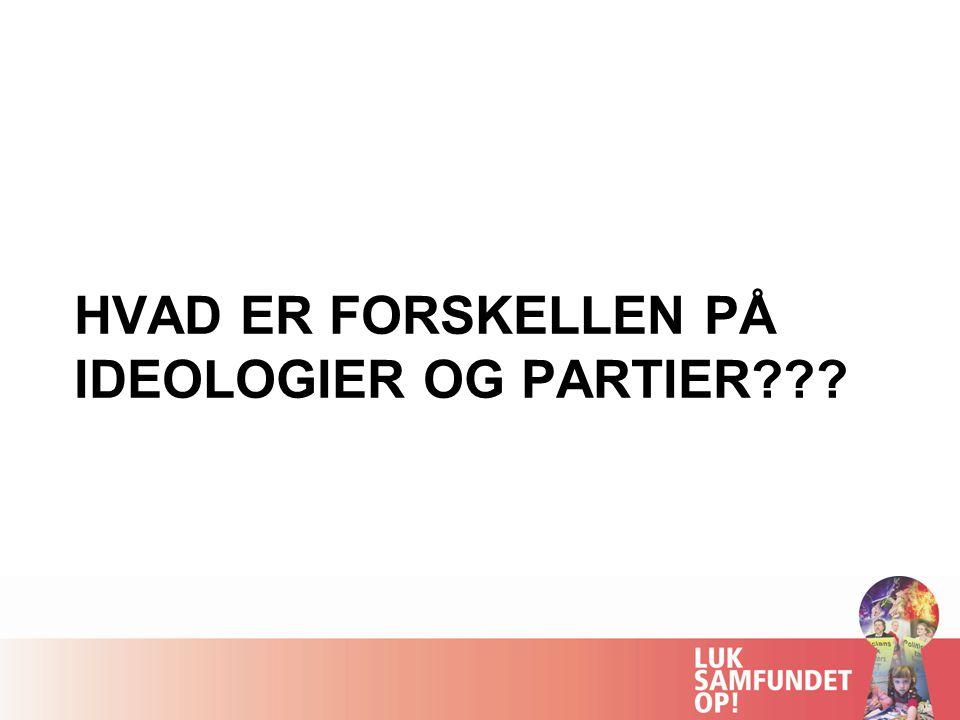 HVAD ER FORSKELLEN PÅ IDEOLOGIER OG PARTIER