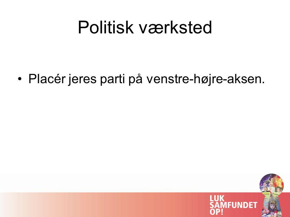 Politisk værksted Placér jeres parti på venstre-højre-aksen.