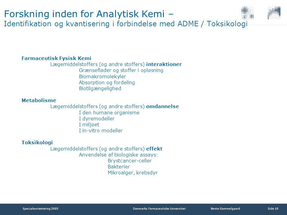 Forskning inden for Analytisk Kemi – Identifikation og kvantisering i forbindelse med ADME / Toksikologi